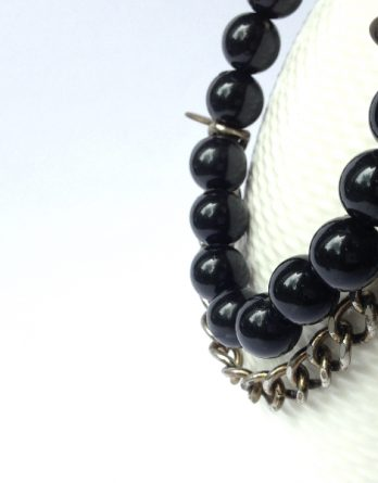 Get Happy Black Beaded Bracelet