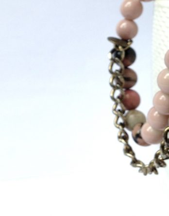 Get Happy Printed Pink Beaded Bracelet